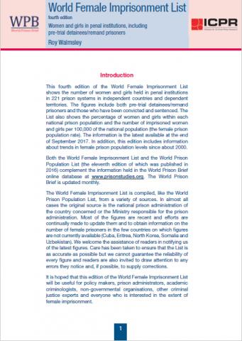 World Female Imprisonment List (fourth edition) | World Prison Brief